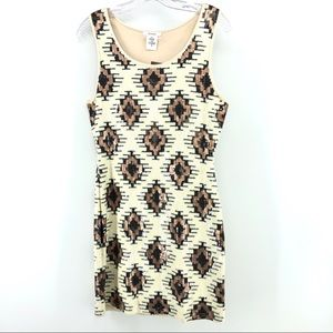Esley Tribal Sequins Dress M Sleeveless Mini Short